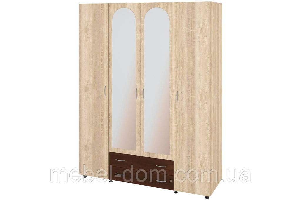 Шкаф четырехдверный Ш-4 Милана ДСП с зеркалом (2 шт.). Шкаф для спальни