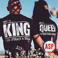 Парные футболки для пары King Queen печать на футболках на заказ за 1день