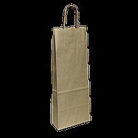 Пакет бумажный с ручкой под бутылку 150*90*400 (1002) Крафт