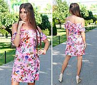 Новинка! Летнее платье с карманами ( арт. 102 ), ткань софт, принт розы на розовом