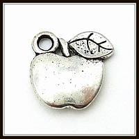 """Метал. подвеска """"яблоко"""" серебро (1,3х1,2 см) 8 шт в уп."""