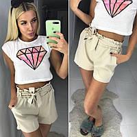Женские шорты с завышенной талией на резинке с поясом  , фото 1
