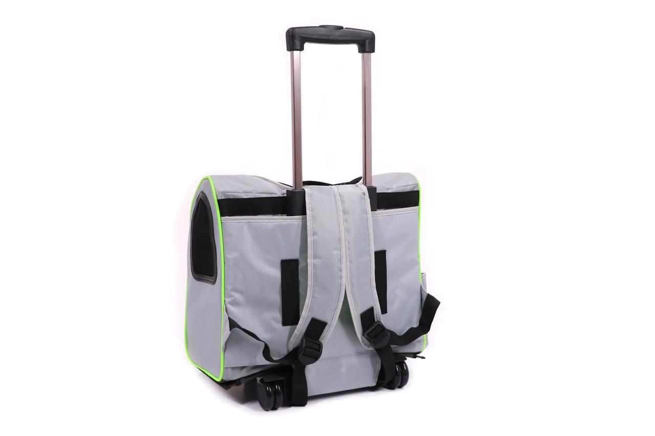 Кейс-переноска-рюкзак для собак и котов Do Do Pet, Linno Lime серый салатовый
