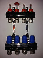 Коллектор с расходомерами Gross никелированный на 3 выхода