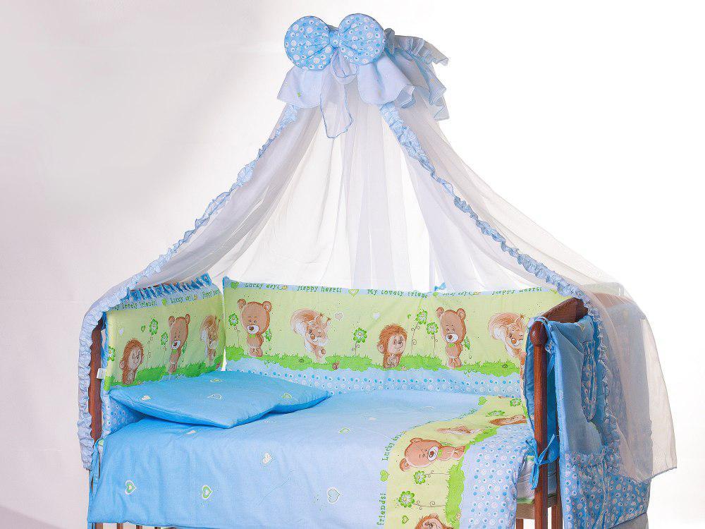 Детская постель Qvatro Lux  RL-08  голубая (ежик с мишкой,белкой)