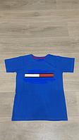 Футболка для мальчика 13,14,15 лет, синяя с красным, рост 158 -170