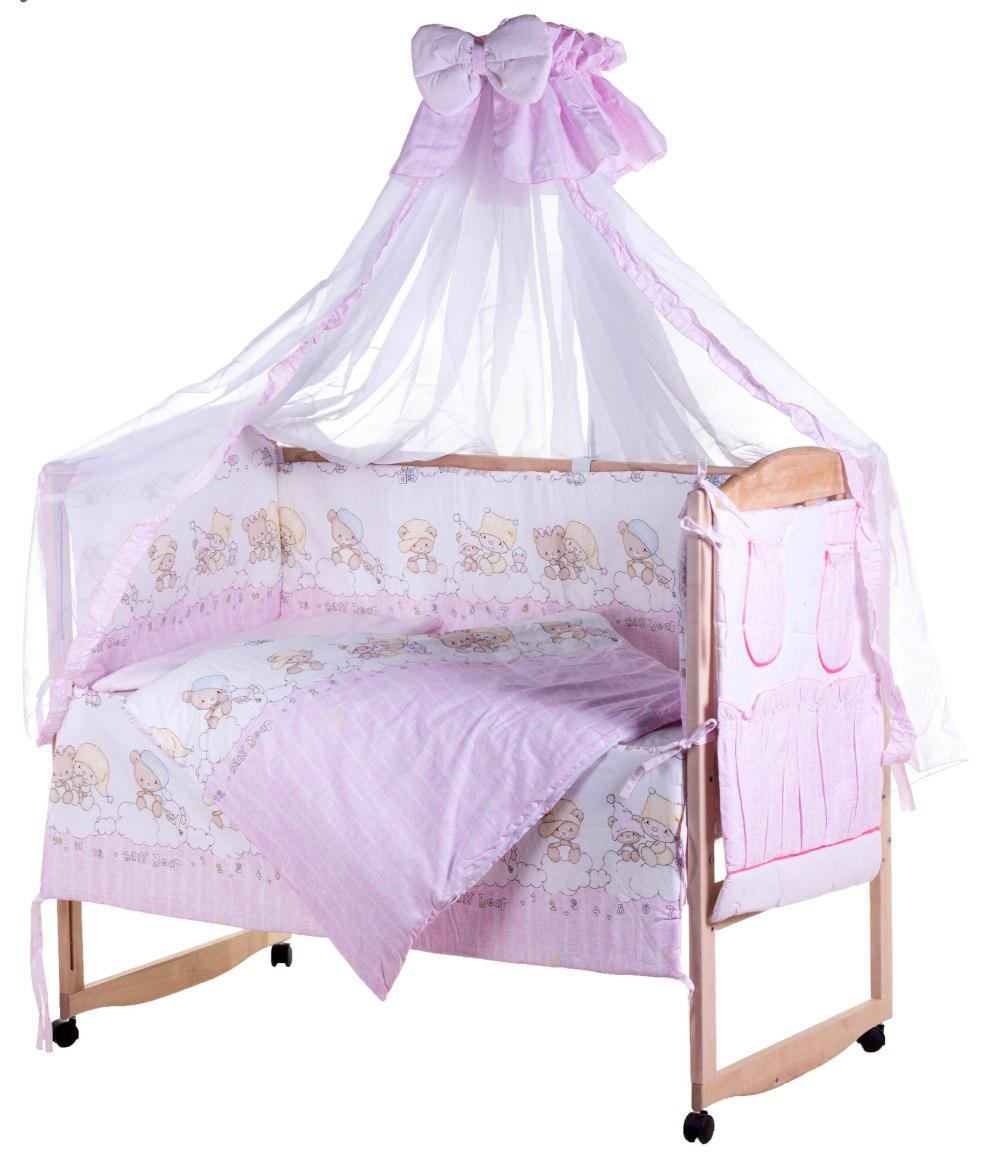 Детская постель Qvatro Lux  RL-08  розовая (мишки на облаках)