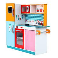 Кухня детская игровая деревянная большая W05 Tobi Toys (интерактивная кухня, кухня для детей )
