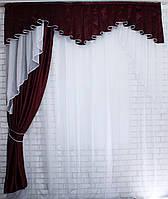 "Ламбрекен со шторой из ткани бэкаут ""Софт"" Код 108лш130, фото 1"