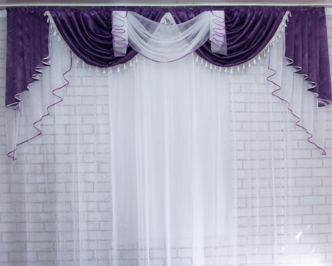 "Ламбрекен из ткани блэкаут ""Софт"" №109 Цвет фиолетовый. Код:109л129"