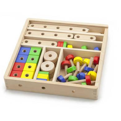 """Конструктор """"Техник"""" 53 детали в дерев.коробке, Viga Toys"""