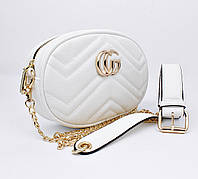 Сумочка-клатч на пояс, через плечо женская кожзам белая Gucci 20875-5, фото 1