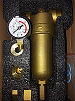 """Самопромывной фильтр Meliart 1"""" для горячей воды с манометром"""