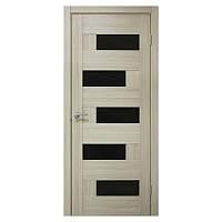 Межкомнатная дверь ПВХ Омис Домино 800мм Черное стекло Дуб беленый
