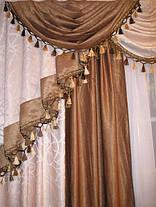 """Готовый комплект для гостинной: ламбрикен + шторы """"Белый Мрамор"""", фото 2"""
