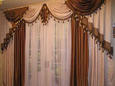 """Готовый комплект для гостинной: ламбрикен + шторы """"Белый Мрамор"""", фото 3"""