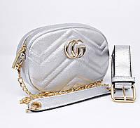 Сумочка-клатч на пояс, через плечо женская кожзам серебро Gucci 20875-11, фото 1