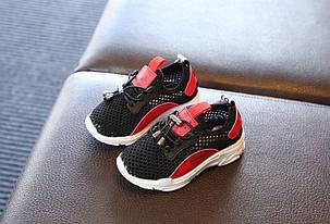 Летние кроссовки черные с красным с сеткой для мальчика, фото 2