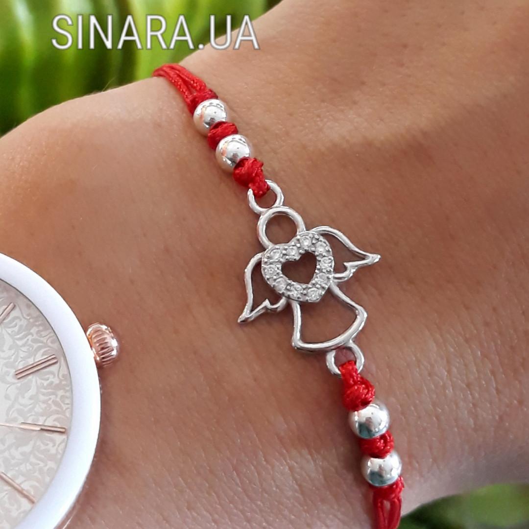 Ангел браслет красная нить с серебром - Красная нить на запястье Ангелочек