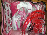 Ролики раздвижные profi розовые для девочки