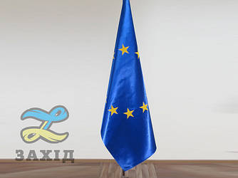 Флаг Евросоюза купольный из атласа с клееными звездами