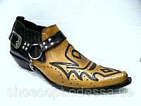 Казаки Etor мужские кожаные туфли песочные на кожаной подошве