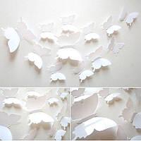 (12 шт) Набор бабочек 3D на скотче, БЕЛЫЕ однотонные