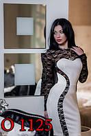 Платье трикотажное с гипюром белое
