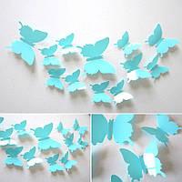 (12 шт) Набор бабочек 3D на скотче, ГОЛУБЫЕ (БИРЮЗА) однотонные