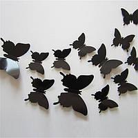 (12 шт) Набор бабочек 3D на скотче, ЧЕРНЫЕ однотонные