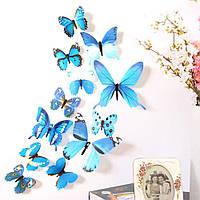 (12 шт) Набор бабочек 3D на скотче, СИНИЕ цветные