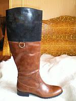 Сапоги женские кожаные коричневые на низком каблуке, фото 1