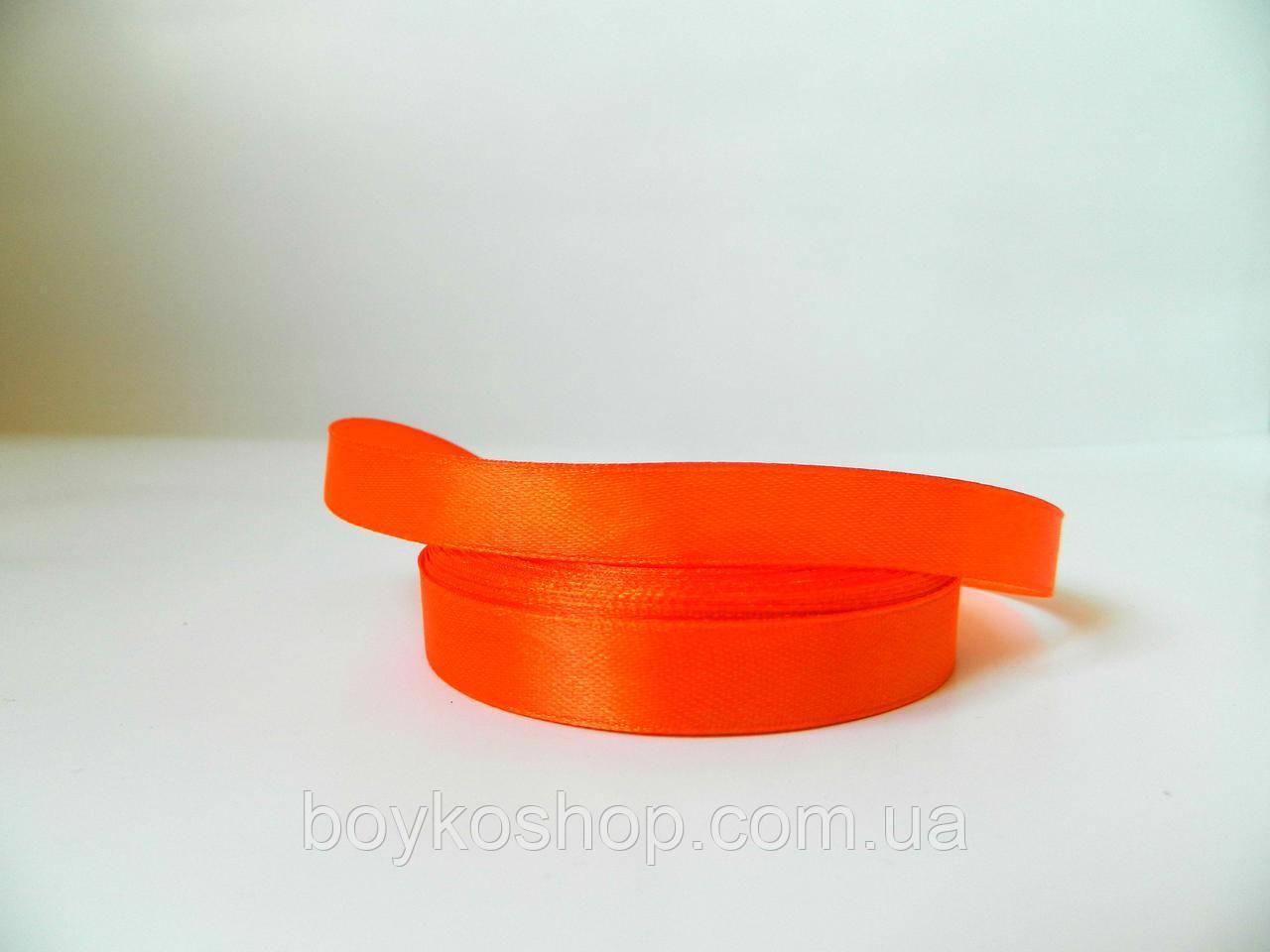 Лента атласная ярко-оранжевая 6 мм