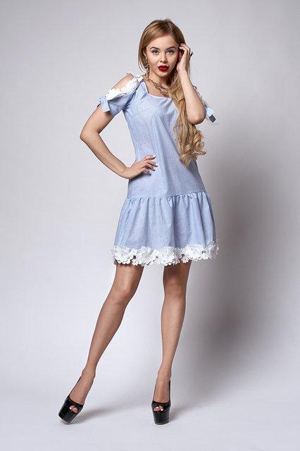 Очень красивое женское летнее платье с кружевом 44-48