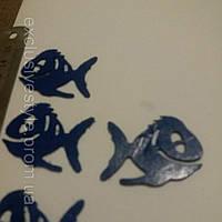 Термонаклейка синяя рыбка
