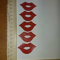 Аппликация клеевая красные губы из фетра