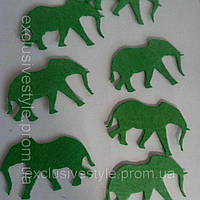 Клеевая фетровая аппликаця зеленый слон 1