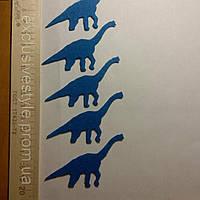 Клеевая аппликация синий динозавр №1
