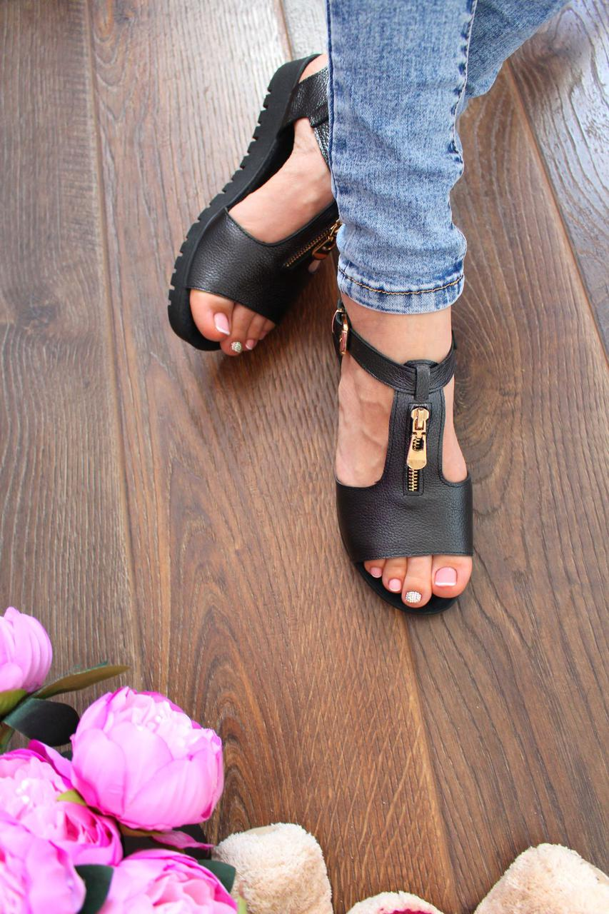 "Босоножки ""Flat sole"" (Натур. кожа.,темный металлик)"