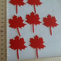 Аппликация клеевая красный кленовый лист