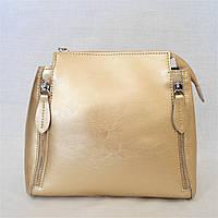 Кожаная женская сумочка золотистого цвета КSM-115019, фото 1