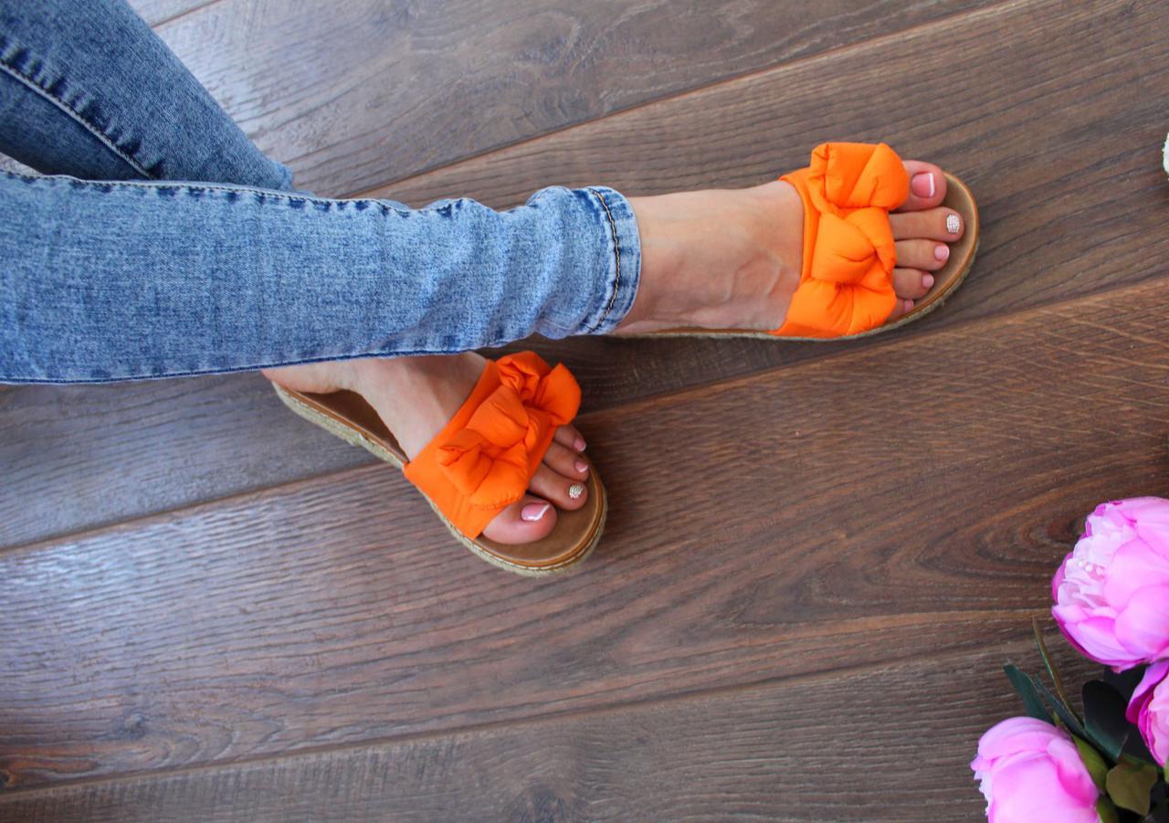 """Шлепанцы """"Orange Bow"""" (Текстиль,Оранжевый)"""