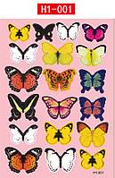 Інтер'єрна наліпка Метелики 3D 19 шт / Интерьерная наклейка на стену бабочки 3д 3D разноцветные (набор h1-001), фото 1