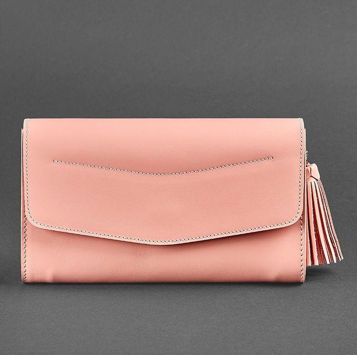 Сумка-клатч через плечо, на пояс женская кожаная розовая (ручная работа)