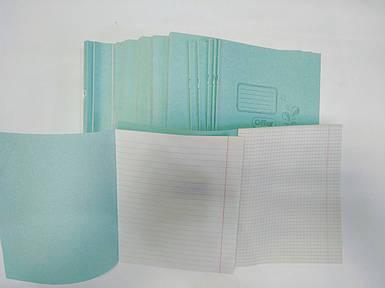 Тетрадь школьная фоновая 18 листов В5 формат белый лист клетка линия косая  в ассортименте