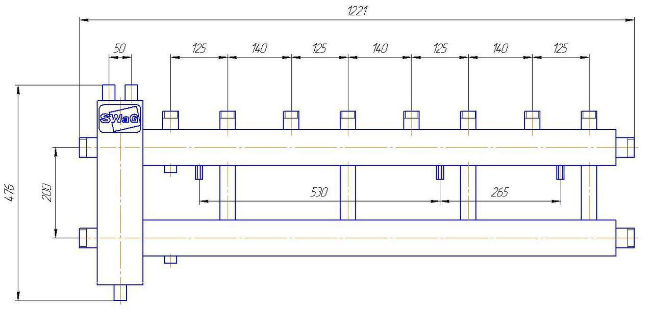 Колектор з гідрострілкою 4-х контурний (виходи вгору) Swag