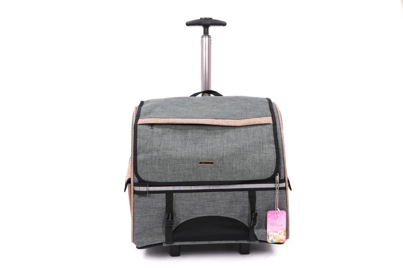 Кейс-переноска-рюкзак для собак и котов Do Do Pet, Robby Grey серый бежевый
