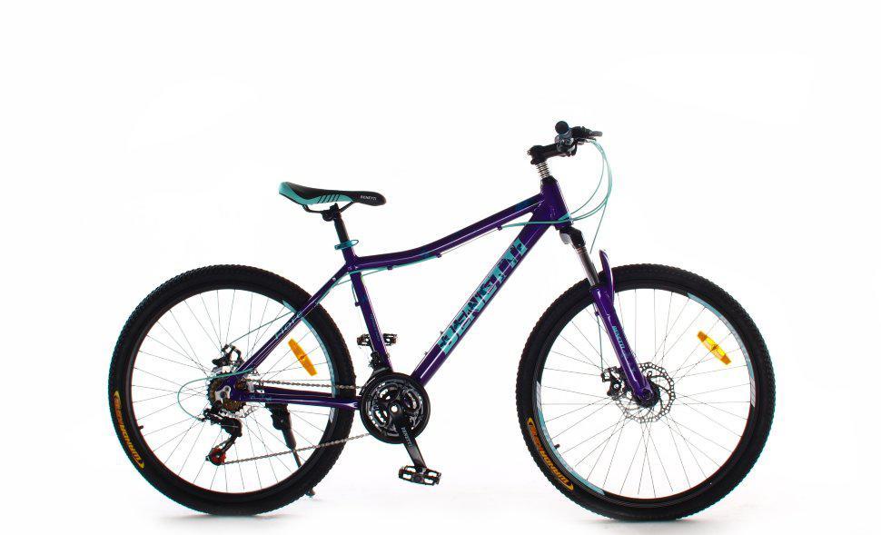 """Горный женский велосипед Benetti Fiore 26"""" алюминиевая рама 15"""" дисковые тормоза фиолетово-бирюзовый"""