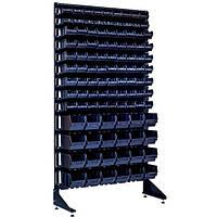 Односторонний стеллаж с ящиками для метизов 1800 мм на 105 контейнеров