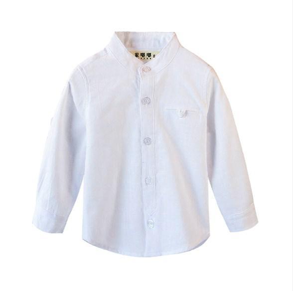 Рубашка однотон без воротника (бел) 110,150,160, фото 1